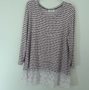 🌷Cato maroon and white striped lace hem sweater -